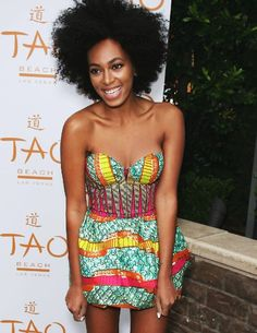 Solange looks good here. She doesn't need to try to complete with her sister. She's beautiful and talented in her own right