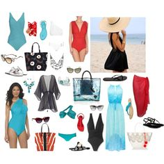 Soft Dramatic on the beach by ketutar on Polyvore featuring Forever New, Aqua Green, Lanvin, Calypso St. Barth, Gottex, Boohoo, Norma Kamali, Body Glove, Cole Haan and René Caovilla