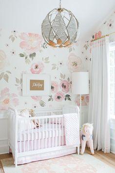 The large floral print wallpaper! Love! Touring Monika Hibbs's Oh-So Sweet Blush Pink Nursery | Glitter Guide