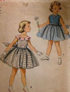 Vintage 1950s One Piece Dress with Bow Back Sewing Pattern