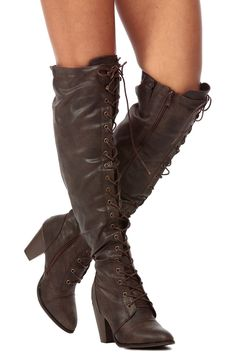 Brown Distressed Faux Leather Knee High Lace Up Chunky Boots @ Cicihot Boots Catalog:women's winter boots,leather thigh high boots,black platform knee high boots,over the knee boots,Go Go boots,cowgirl boots,gladiator boots,womens dress boots,skirt boots.