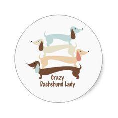 Crazy Dachshund Lady Stickers