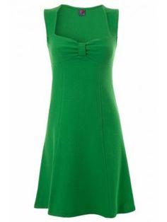 60s A Line Dress Zee in Green waffle cotton