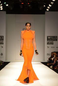 Orange gown.