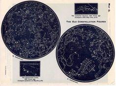 1942 constellations star map original vintage celestial print equatorial regions II - northern hemisphere. $25.00, via Etsy.