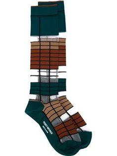Issey Miyake long striped socks