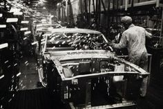 Mustang Assembly Line:  Grinding Body Panels