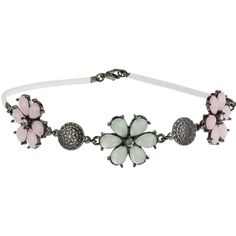 Miss Selfridge Margot Flower Choker ($6) ❤ liked on Polyvore featuring jewelry, necklaces, gunmetal, choker jewelry, flower jewellery, blossom jewelry, flower choker necklace and blossom necklace