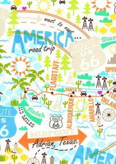 Travel Camper Novelty Road Map Rt.66 Valance