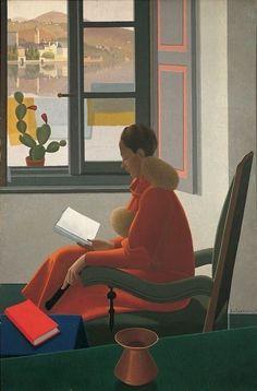"""kundst: """"Antonio Calderara (it. 1903-1978) La finestra e il libro (1935) """""""