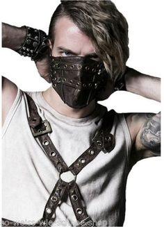 Punk-Rave-UNISEX-Steampunk-Maske-Kunst-Leder-Mundschutz-PU-LARP-WGT-Gothic-S138