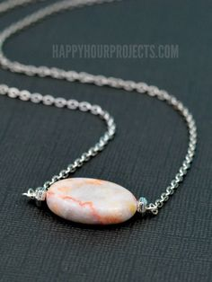 Simple Stone DIY Bead Necklace at www.happyhourprojects.com