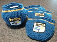 New design from Bar-bar-A-Black Sheep Unique Crochet Designs. West Coast Eagles Colours and AFL Club Badge.Can be made in Acrylic or Acrylic/Cotton Blend. Support your club in style! West Coast Eagles, Cd Art, Unique Crochet, Black Sheep, Crochet Designs, Beanies, Crocheting, Bowls, Crochet