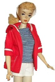Vintage Barbie Resort Set #963 (1959-1962)  Red Jacket  Navy & White Stripe T-Shirt  White Cuffed Shorts  White Hat  White Vinyl Cork Wedge Shoes  Gold Charm Bracelet    Classic red, white and blue summer vacation resort wear.    The hat is open on the top to let that swingy ponytail show.    These items are pretty easy to find, with the charm bracelet and the cork wedgies and hat to a lesser extent among the most rare.    The hat and shorts are sometimes found dirty - but they are sturdy…