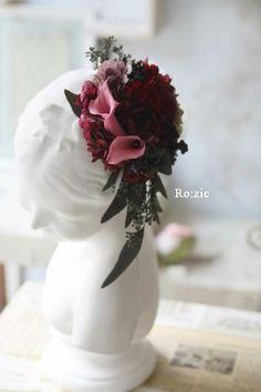 プリザーブドフラワーで作ったお花の帽子