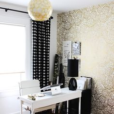 Black, white and gold can do no wrong. We adore @fabricpaperglue's Petal Pusher office in @adoremagazine.