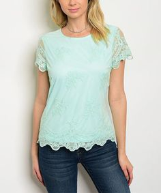 Loving this Mint Lace-Sleeve Top on #zulily! #zulilyfinds