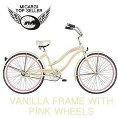 "Women's Tahiti 26"" Beach Cruiser Coaster Brake Stainless Steel Spokes One Piece Crank Alloy Pink Rims 36H W/ Fenders Color: Vanilla/ Pink Rims - http://www.bicyclestoredirect.com/womens-tahiti-26-beach-cruiser-coaster-brake-stainless-steel-spokes-one-piece-crank-alloy-pink-rims-36h-w-fenders-color-vanilla-pink-rims/"