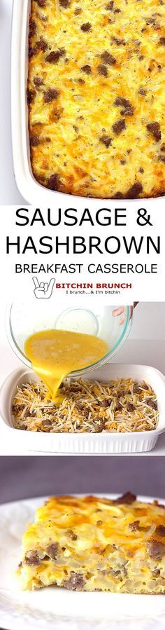Sausage Hash Brown Breakfast Casserole recipe. Eggs poured over hash browns, sausage, & cheese; then baked. via @bitchinbrunch