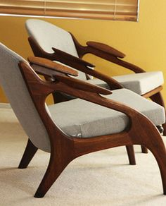 Pair of 1950's Adrian Pearsall Walnut Chairs Sold for $5,110