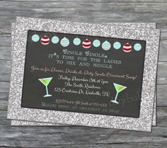 Christmas santa party invites, like the glitter surround