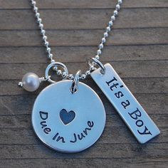 Due in... Proud Mama Pregnancy Necklace with Birthstone & It's a Boy (or Girl) Tag from My Love Charms on OpenSky
