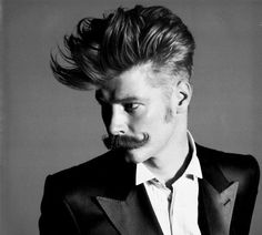 Pompadour and moustache. Would you just look at this boss. Handlebar Mustache, Beard No Mustache, Moustaches, Hair And Beard Styles, Long Hair Styles, Natural Hair Styles, Moustache En Crocs, Redhead Men, Rockabilly Style