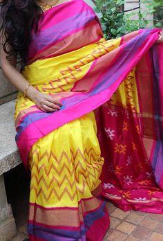 Yellow with Pink Ikkat Silk Saree