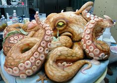 Octopus Cake - This is a for real cake but for whatever occasion I haven't the foggest idea. BTW, this cake weighs 200 pounds.