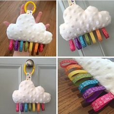 Bea'spoke cloud rainbow ribbon tag plush comforter baby toddler pram cot mobile toy plushie soft minky clouds theme nursery