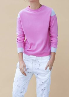 This two tone cashmere crew neck sweater has a ribbed shoulder sleeve detail & wrap over sleeve with contrast cuffs. It's knitted to a relaxed fit that falls just above the hips. Ribbed knit detailing at the neckline, cuffs, and hem ensures a comfortable fit. Winter Wardrobe, Shoulder Sleeve, Wardrobe Staples, Cashmere Sweaters, Cuffs, Contrast, Ss, Crew Neck, Neckline