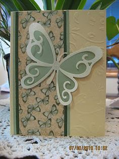 Butterfly card; could cut out right side of large butterfly & let inside show; have embossed rt edge on inside