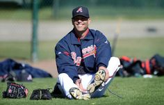 Atlanta Braves pitcher Tim Hudson takes his shoe off after his pitching practice during the third full squad workout at Champion Stadium in the ESPN Wide World of Sports Complex in Lake Buena Vista, Fl., on Sunday, Feb. 17, 2013. @Michelle Harris