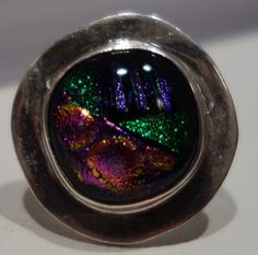 LARGE GREEEN,PINK PURPLE DICHROIC GLASS FUSED TASCO SILVER 0NE OF A KIND RING 7