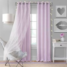 The Elrene Aurora Kids Room Grommet Darkening Layered Sheer Window Curtain Panel is a cute addition to any room. A two layered curtain, the bottom is a room darkening panel in a soft color palette while the top layer is a sparkly white sheer. Sheer Curtain Panels, Window Panels, Sheer Curtains, Panel Curtains, Canopy Curtains, Kids Blackout Curtains, Kids Room Curtains, Kids Bedroom, Kids Rooms