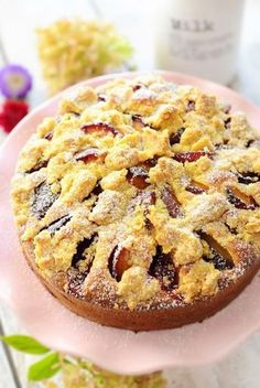 juicy plum cake of the North German kind in a step by step arrangement - Essen und Trinken - Avocado Dessert, Baumkuchen Recipe, Fall Recipes, Sweet Recipes, Baking Recipes, Dessert Recipes, German Baking, Gateaux Cake, Plum Cake