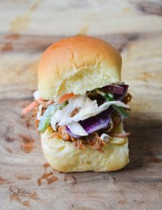food and other stuff: Pulled Pork Sliders with Jalapeno Coleslaw. I really, really, really want to make these