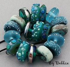 DSG Beads Handmade OrGaNiC Lampwork Glass ~Ocean Breeze~ Made In The USA #DebbieSandersGlass #Organic