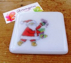 Christmas Santa Claus Fused Glass Coaster UK by shineon2 on Etsy, £5.50