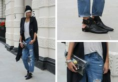 Storets Hat, Avelon Silk Trench, Cos Speckled Tee, Monki Jeans, Choies Boots, Minusey Transparant Clutch