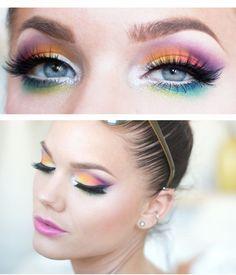 Pretty Rainbow Eye Makeup
