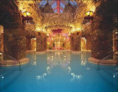 An indoor swimming pool in a half-castle/half-cave-like grotto is a must!  And I'd tack on a hot tub in there for good measure as well!
