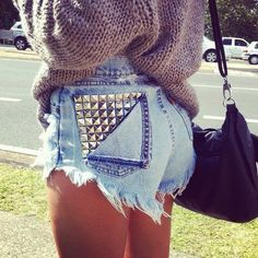 studded high waisted shorts. yes
