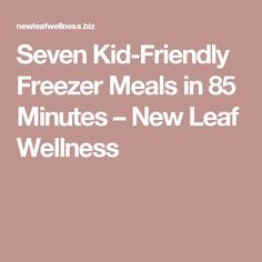 Seven Kid-Friendly Freezer Meals in 85 Minutes – New Leaf Wellness