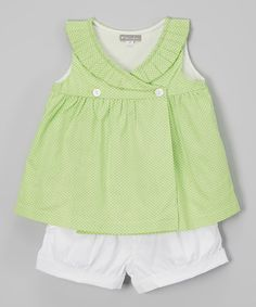 Look what I found on #zulily! Green Polka Dot Swing Top & Shorts - Infant & Toddler #zulilyfinds