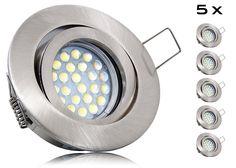 5er LED Einbaustrahler Set mit Marken GU10 LED Spot LC Light 5 Watt Alu-Druckguß Rund Klickverschluß