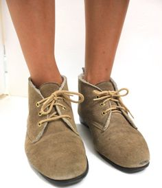 Vintage Retro Leather Boots Shoes Size Women's by VintageWestCoast, $37.00