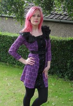 Purple and Black peacock dress with flamboyant collar detail