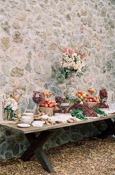 Stunning Fruit Display! On http://www.StyleMePretty.com/2014/03/21/hilltop-al-fresco-wedding-in-malibu-california/ Photography: Kurt Boomer - kurtboomerphoto.com on #SMP