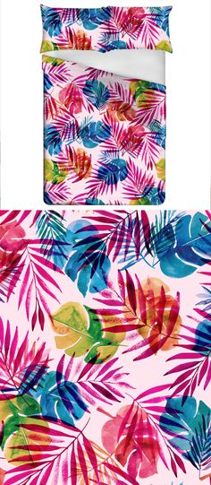 Seamless Watercolor Tropical Pattern in Pink Background - Layered File Fully Editable by Claudia Orengo Guardiola - The tropical illustrations from this pattern were hand painted by me with watercolor. If you get the extended license, you will have a fully editable PSD file with all the paintings separated and ready to change the colors.
